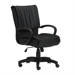 Mayline Mercado Black Genuine Leather Conference Office Chair with Loop Arms