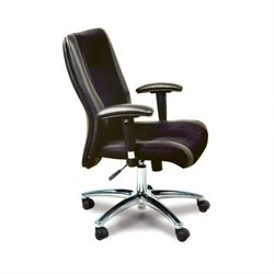 Mayline Mercado Black Leather/Mesh Combo Conference Office Chair