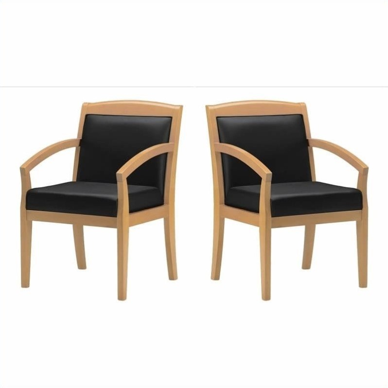 Mayline Mercado Genuine Black Leather Seat & Solid Maple Wood Frame Guest Chair (Set of 2)