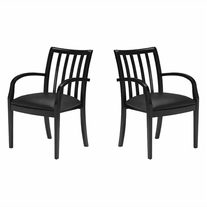 Mercado Genuine Black Leather Seat & Slat Back Solid Espresso Walnut Wood Guest Chair (Set of 2)