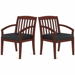 Mayline Mercado Genuine Black Leather Seat & Slat Back Solid Medium Cherry Wood Guest Chair (Set of