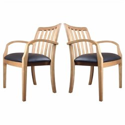 Mayline Mercado Genuine Black Leather Seat & Slat Back Solid Maple Wood Guest Chair (Set of 2)