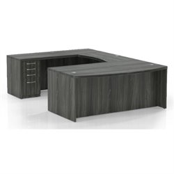 Mayline Aberdeen Typical 3 Computer Desk in Gray Steel Laminate