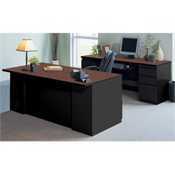 Mayline CSII Typical 7 Cherry Laminate Computer Desk in Black