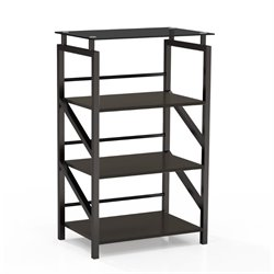 Mayline Soho 4 Shelf Glass Top Bookcase