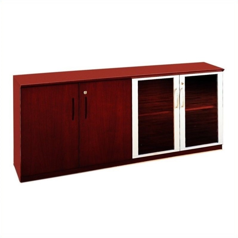 Mayline Napoli Low Wall Cabinet with Doors in Sierra Cherry