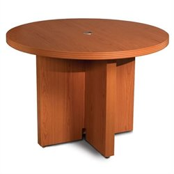 Mayline Aberdeen 3.5' Round Conference Table with X-Shaped Base - Cherry