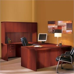 Mayline Aberdeen Typical AT4 U-Shaped Desk with Hutch in Cherry