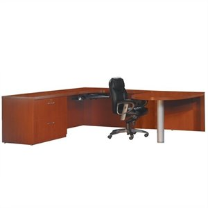 Mayline Aberdeen Typical Executive U-Shaped Computer Desk in Cherry