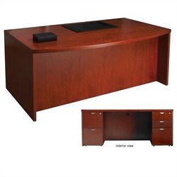 Mayline Mira Double Pedestal Computer Desk in Medium Cherry