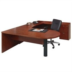 Mayline Mira Peninsula Table Credenza Bridge and File-File Pedestal