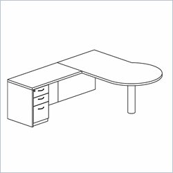 Mayline Mira Right P-Shaped Desk Return and Box-Box-File Pedestal
