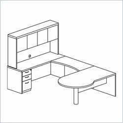 Mayline Mira U-Shaped Computer Desk in Medium Cherry