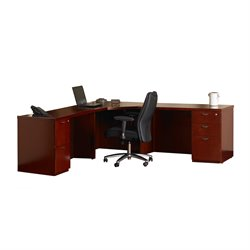 Mayline Mira 5 Drawer L-Shaped Desk in Cherry