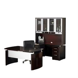 Mayline Napoli 7-Piece Desk with Credenza Hutch in Mahogany