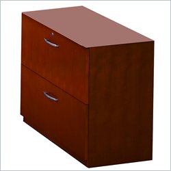 Mayline Corsica 2 Drawer Lateral Wood File with Unfinished Top For Credenza Return - Sierra Cherry on Cherry veneer
