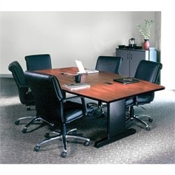 Mayline CSII Boat Shaped 6' Conference Table with Trestle Base - Mahogany