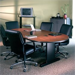 Mayline CSII 7' Boat Shaped Conference Table with Trestle Base