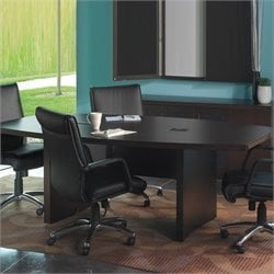 Mayline Aberdeen Boat Shaped Conference Table with Slab Base in Mocha