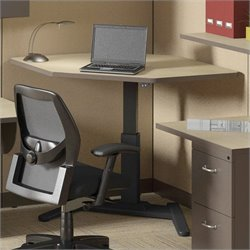 Mayline VariTask LT Series Corner Power Adjustable Standing Desk - Birch