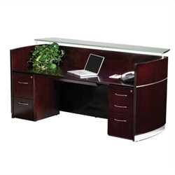 Mayline Napoli Double Pedestal Reception Station in Mahogany