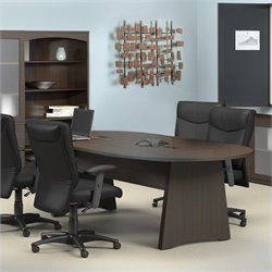 Mayline Brighton 8' Wood Racetrack Conference Table with Slab Base - Cherry