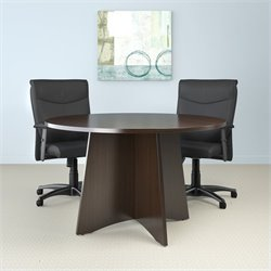 Mayline Brighton Round 4' Conference Table with X-Shaped Base - Cherry
