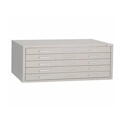 Mayline C-Files 5 Drawer Metal Flat Files with Dust Covers - Sand Beige