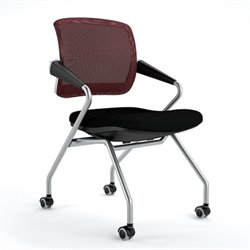 Mayline Valore Mid-Back Metal Guest Chair with Arms in Burgundy (Set of 2)