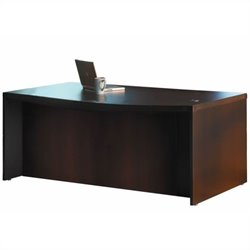 Mayline Aberdeen Bow Front Wood Desk in Mocha - 66