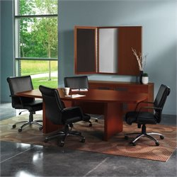 Mayline Aberdeen Boat Shaped Conference Table with Slab Base in Cherry - 6'