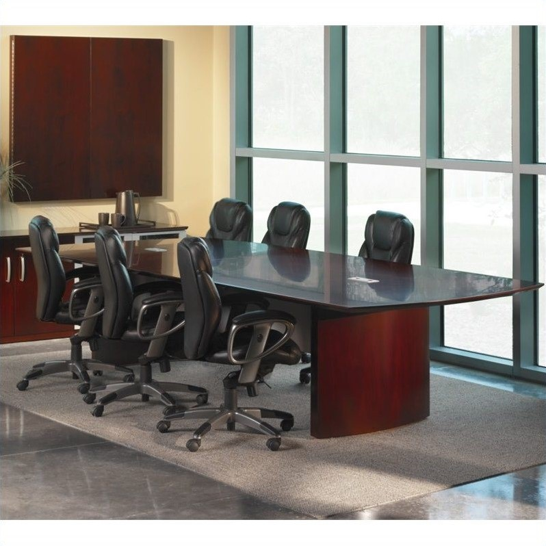 Mayline Napoli Curved End Conference Table In Mahogany NCXXMAH - Napoli conference table