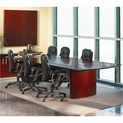 Mayline Napoli Curved End Conference Table in Sierra Cherry - 6' Conference Table