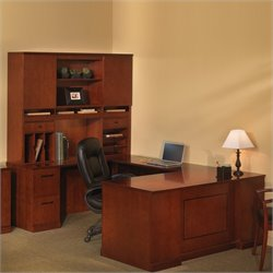 Mayline Sorrento Executive U Straight Front Desk with Hutch Set - Espresso