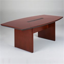 Mayline Corsica Boat Shaped 7' Conference Table with Slab Base - Sierra Cherry on Cherry Veneer