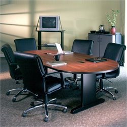 Mayline CSII Narrow 8' Racetrack Conference Table with Trestle Base - Grey Nebula