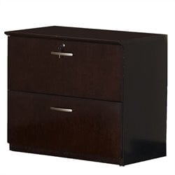 Mayline Napoli 2 Drawer Lateral Wood File Storage Cabinet in Mahogany