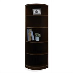 Mayline Sorrento 5 Shelf Quarter-Round Bookcase in Espresso
