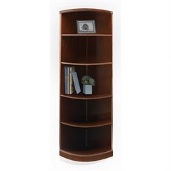 Mayline Sorrento 5 Shelf Quarter-Round Bookcase in Bourbon Cherry