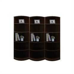 Mayline Sorrento 5 Shelf Quarter-Round Wall Bookcase in Espresso
