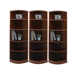 Mayline Sorrento 5 Shelf Quarter-Round Wall Bookcase in Bourbon Cherry