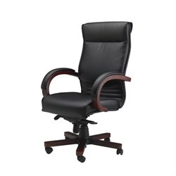 Mayline Mercado Corsica Wood-Leather Office Chair - Sierra Cherry