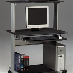 Mayline Crosswinds Mobile Wood Computer Cart with Hutch