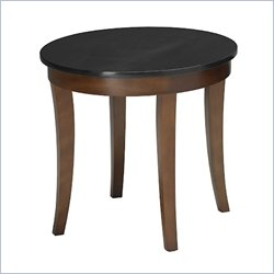 Mayline Midnight Round Granite Top End Table in Bourbon Cherry