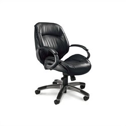 Mayline Series 100 Ultimo Mid-Back Office Chair in Black Leather
