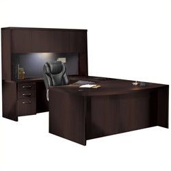 Mayline Aberdeen Typical AT4 U-Shaped Desk with Hutch in Mocha