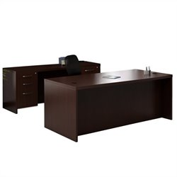 Mayline Aberdeen Conference Desk and Credenza Set in Mocha