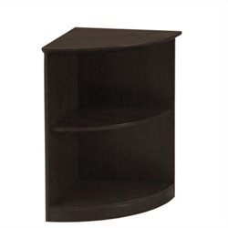 Mayline Medina Bookcase (2 Shelf 0.25 - Round) in Mocha