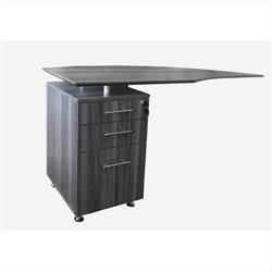 Mayline Medina Curved Desk Return With Pedestal (Left) in Gray Steel