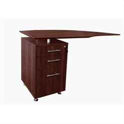 Mayline Medina Curved Desk Return With Pedestal (Left) in Mahogany